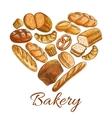 Bakery shop heart symbol of sketch bread vector image vector image