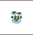 beach fitness logo vector image vector image