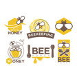 beekeeping and honey symbols vector image vector image
