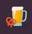 beer jar with pretzel vector image