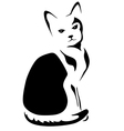 Black and white stylized sitting cat vector image vector image