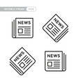 black newspaper icons set on white background vector image