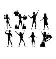 black silhouette set happy people men and women vector image vector image
