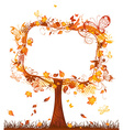 Blank sign on autumn tree vector image