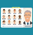 business men flat avatars set with smiling face vector image