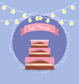cake with just married message in the ribbon vector image vector image