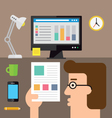 Checking the stats on paper vector image vector image