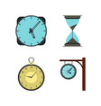 clock icon set flat style vector image