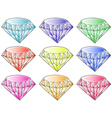 Different colors of diamonds vector image