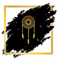 dream catcher sign golden icon at black vector image vector image