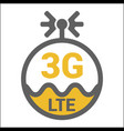 flat 3g lte logo icon with antenna and wave vector image vector image