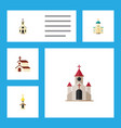 flat icon church set of traditional building vector image vector image