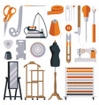 flat tailor objects set collection for creating vector image vector image