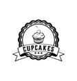 food vintage cupcakes badge logo vector image