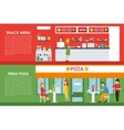 Fresh Pizza and Snack Menu flat concept web vector image vector image