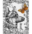 hand drawn sketch of dog steampunk style vector image vector image