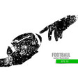hand holds the rugby ball silhouette vector image vector image