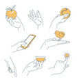 hand human palm holding objects isolated body part vector image vector image