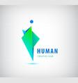 human logo sign origami shiny modern man vector image vector image