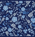 indigo coloured mixed floral and leaves vector image
