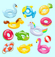 inflatable inflated swimming ring and life vector image