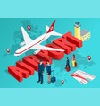 isometric airport travel concept the passenger vector image vector image