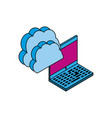 laptop computer with cloud computing vector image vector image