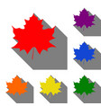 maple leaf sign set of red orange yellow green vector image vector image
