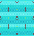 marine pattern seamless stripes waves and anchor vector image