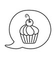 muffin into speech bubble black and white vector image