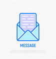 opened envelope with message thin line icon vector image