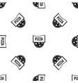 pizza badge or signboard pattern seamless black vector image vector image