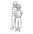 pregnant couple avatar black and white vector image vector image