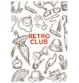 retro club vintage accessories hats and umbrellas vector image vector image