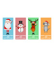santa claus christmas reindeer with a snowman vector image vector image