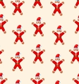 Seamless Christmas pattern with red Santa vector image