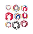 set modern style geometric hexagonal logo vector image vector image