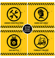 Set of yellow grunge warning banners