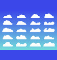 set white clouds icons trendy flat style vector image