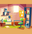 small room cartoon bedroom with furniture vector image vector image