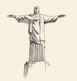 statue jesus christ rio de janeiro city vector image