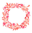 sweet pink blossom and leave wreath frame wreath vector image
