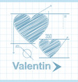 the heart is drawn in pencil as a geometric vector image