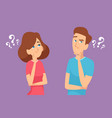 thinking couple male and female characters vector image