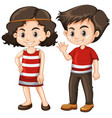 two happy kids with big smile vector image vector image