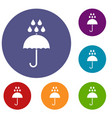 umbrella and rain drops icons set vector image vector image