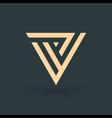 v letter logo design geometric triangle arrow vector image vector image