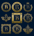 vintage monograms set of b letter vector image
