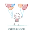 wedding planner with helium balloons vector image vector image