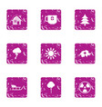 winter clock icons set grunge style vector image